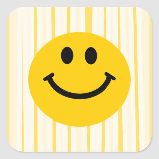 Smiley Face on sunny yellow stripes Square Sticker