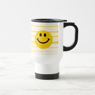 Smiley Face on sunny yellow stripes Travel Mug
