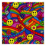 Smiley Face Rainbow and Flower Hippy Pattern
