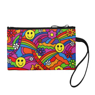 Smiley Face Rainbow and Flower Hippy Pattern Coin Purse