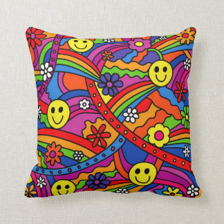 Smiley Face Rainbow and Flower Hippy Pattern Cushion