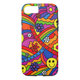 Smiley Face Rainbow and Flower Hippy Pattern iPhone 7 Case