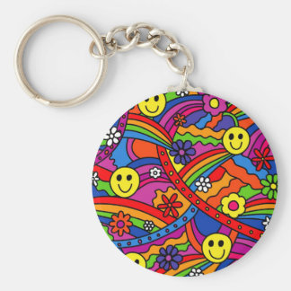 Smiley Face Rainbow and Flower Hippy Pattern Keychains