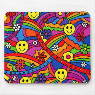 Smiley Face Rainbow and Flower Hippy Pattern Mouse Mat