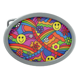 Smiley Face Rainbow and Flower Hippy Pattern Oval Belt Buckle