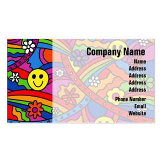 Smiley Face Rainbow and Flower Hippy Pattern Pack Of Standard Business Cards