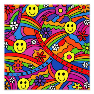 Smiley Face Rainbow and Flower Hippy Pattern Photograph