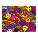 Smiley Face Rainbow and Flower Hippy Pattern Post Cards