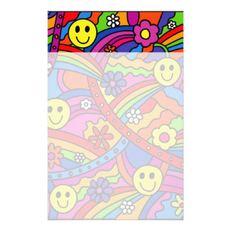 Smiley Face Rainbow and Flower Hippy Pattern Customized Stationery