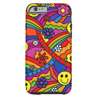 Smiley Face Rainbow and Flower Hippy Pattern Tough iPhone 6 Case