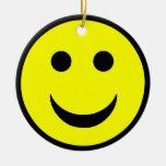 Smiley face round ceramic decoration