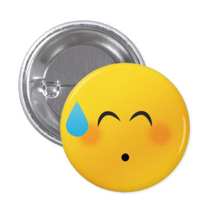 Smiley face shy 1 inch round button