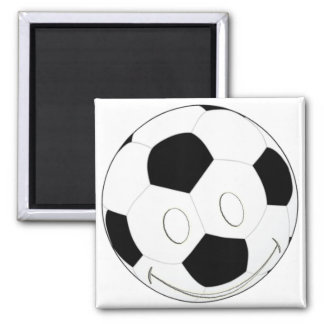 SMILEY FACE SOCCER BALL SQUARE MAGNET