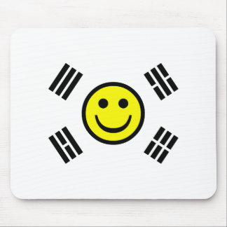 Smiley Face South Korean Flag Mouse Pad