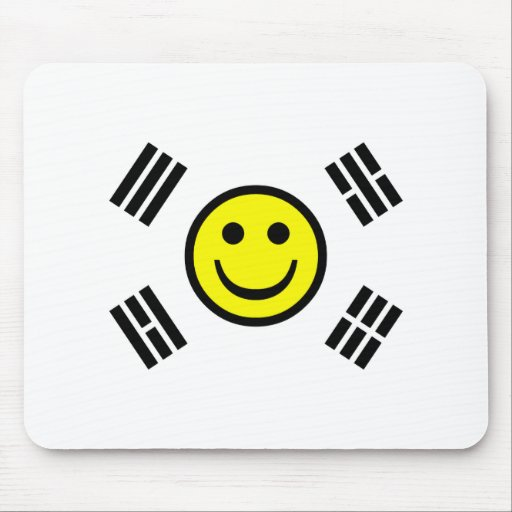 Smiley Face South Korean Flag Mouse Pads