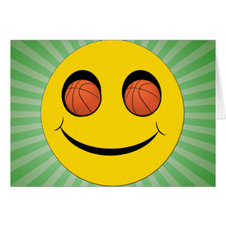 SMILEY FACE SPORTS BASKETBALL GREETING CARD