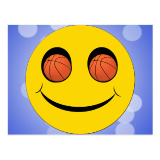 SMILEY FACE SPORTS BASKETBALL POSTCARD