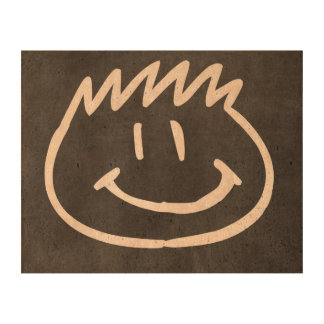 smiley face stamp cork paper print