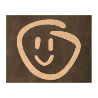 smiley face stamp photo cork paper