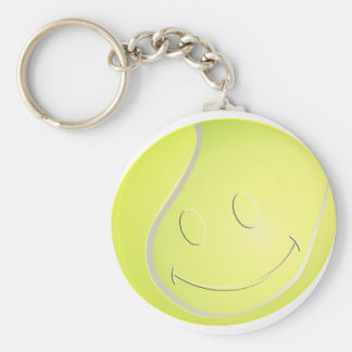 SMILEY FACE TENNIS BALL BASIC ROUND BUTTON KEY RING