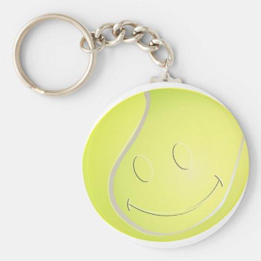 SMILEY FACE TENNIS BALL KEY CHAIN