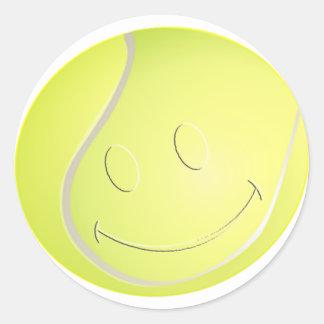 SMILEY FACE TENNIS BALL ROUND STICKER