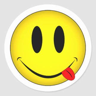 Smiley Face Tongue Round Sticker