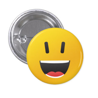 Smiley face with big smile 3 cm round badge
