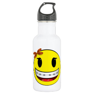 Smiley face with braces - girl 532 ml water bottle