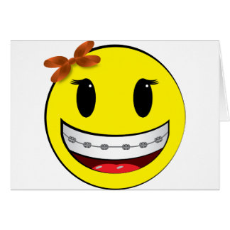 Smiley face with braces - girl card