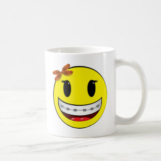 Smiley face with braces - girl mug