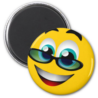 SMILEY FACE WITH GLASSES 6 CM ROUND MAGNET