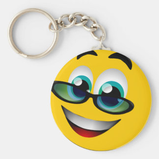 SMILEY FACE WITH GLASSES KEY RING