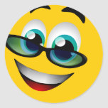 SMILEY FACE WITH GLASSES ROUND STICKER