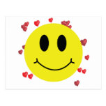 Smiley Face with Red Hearts Post Cards