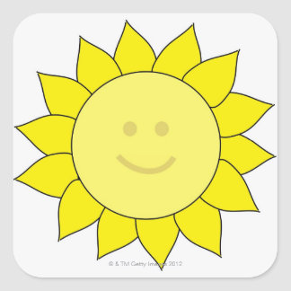 Smiley-Faced Sunflower Square Sticker