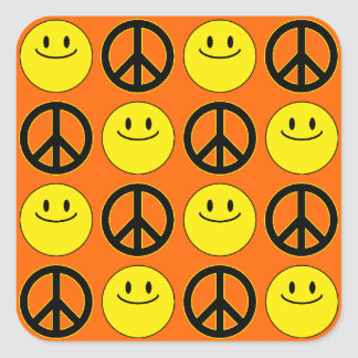 Smiley Faces & Peace Signs Square Sticker