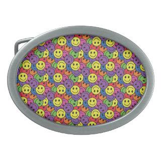 Smiley Faces Retro Hippy Pattern Belt Buckles
