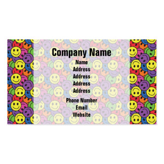Smiley Faces Retro Hippy Pattern Business Card Template