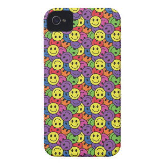 Smiley Faces Retro Hippy Pattern iPhone 4 Case