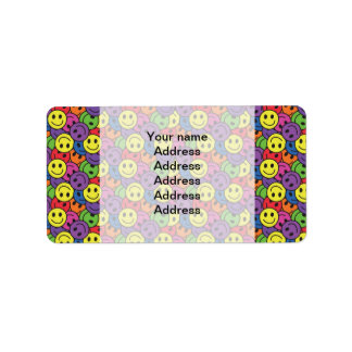 Smiley Faces Retro Hippy Pattern Label