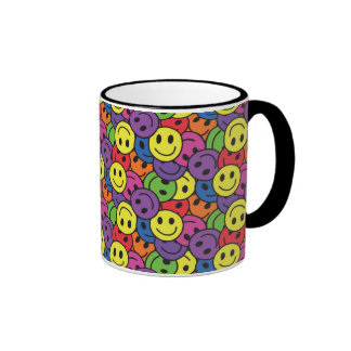 Smiley Faces Retro Hippy Pattern Mugs