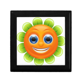 Smiley flower small square gift box