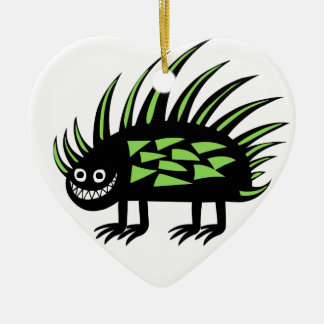 Smiley Funky colourful porcupine f Ceramic Heart Decoration
