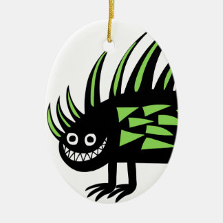 Smiley Funky colourful porcupine f Ceramic Oval Decoration