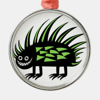 Smiley Funky colourful porcupine f Silver-Colored Round Decoration