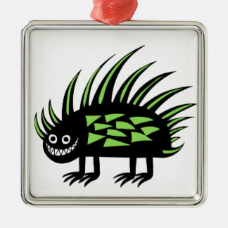 Smiley Funky colourful porcupine f Silver-Colored Square Decoration