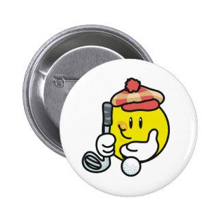 Smiley Golf 6 Cm Round Badge