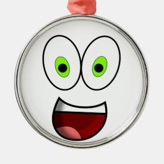 Smiley Green Christmas Ornament