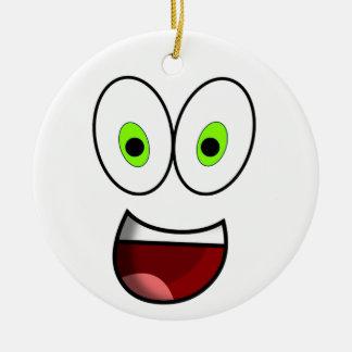 Smiley Green Round Ceramic Decoration